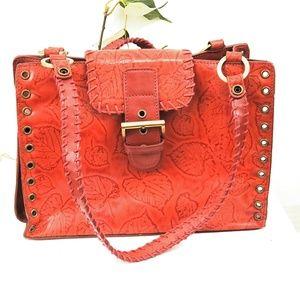 M.C. leather handbag embossed leather
